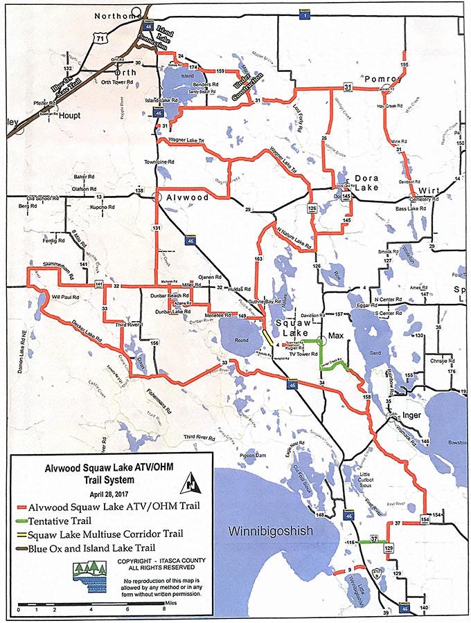 ATV Trail Map - Alvwood & Squaw Lake, MN.