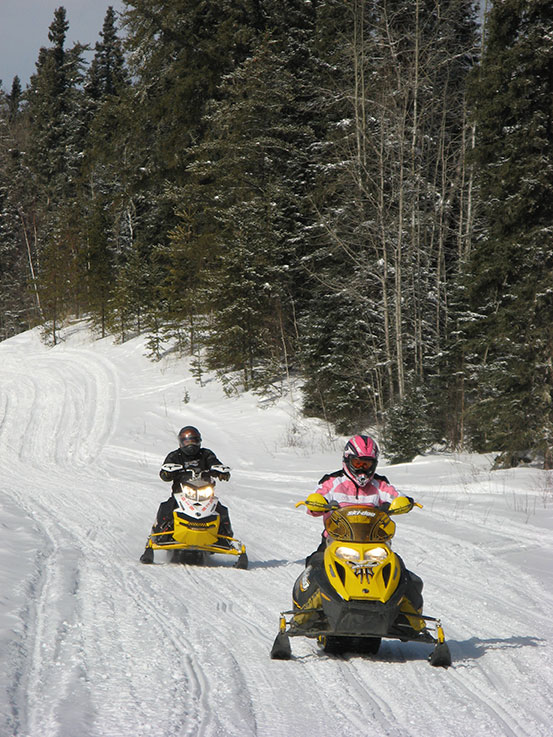Snowmobiling in Northern Minnesota at The Hill Motel in Squaw Lake, MN.